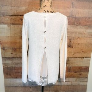 Sioni Tops - Sioni Studio Sparkling Lace Bottom Long Sleeve Top